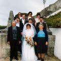 Isabel com os pais e irmãos no dia do casamento