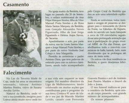Notícia publicada na Comarca de Arganil, em 1 de Outubro de 2008 (continuação)