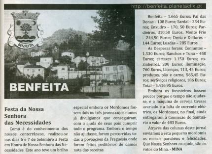 Notícia publicada no Jornal de Arganil, em 9 de Outubro de 2008