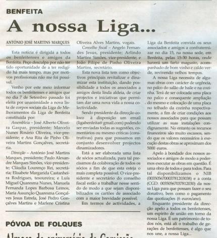Notícia publicada na Comarca de Arganil, em 5 de Novembro de 2008