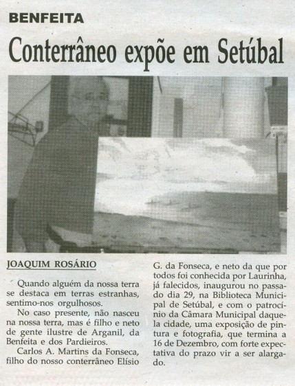 Notícia publicada na Comarca de Arganil, em 10 de Dezembro de 2008