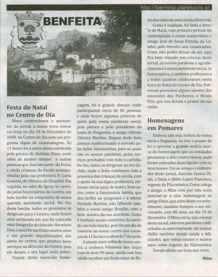 Notícia publicada no Jornal de Arganil, em 1 de Janeiro de 2009
