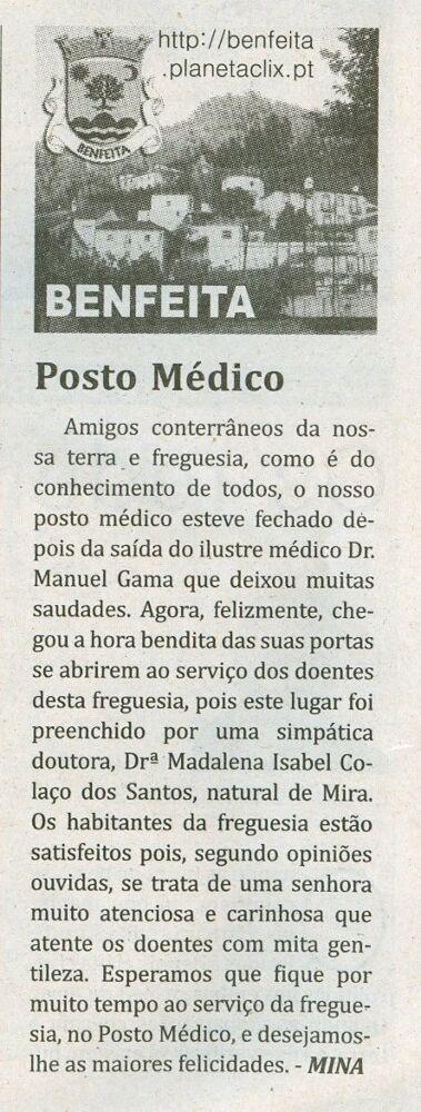 Notícia publicada no Jornal de Arganil, em 22 de Janeiro de 2009