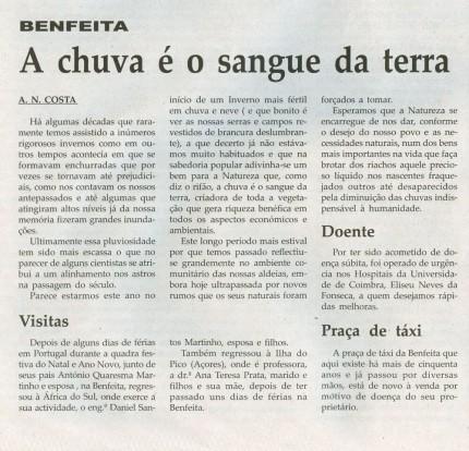 Notícia publicada na Comarca de Arganil, em 28 de Janeiro de 2009