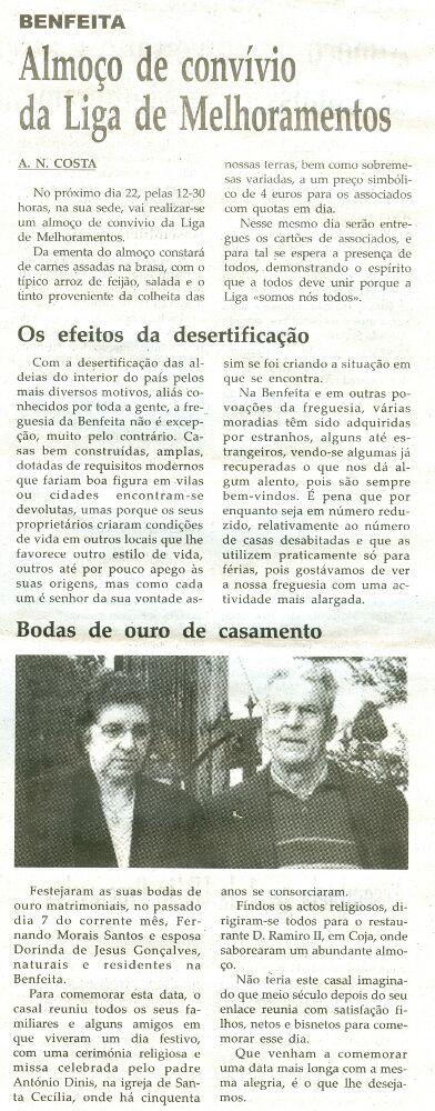 Notícia publicada na Comarca de Arganil, em 18 de Fevereiro de 2009