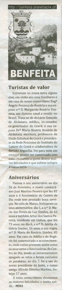 Notícia publicada no Jornal de Arganil, em 12 de Março de 2009