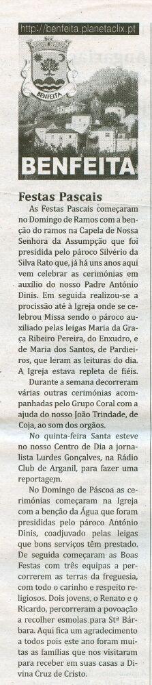 Notícia publicada no Jornal de Arganil, em 23 de Abril de 2009