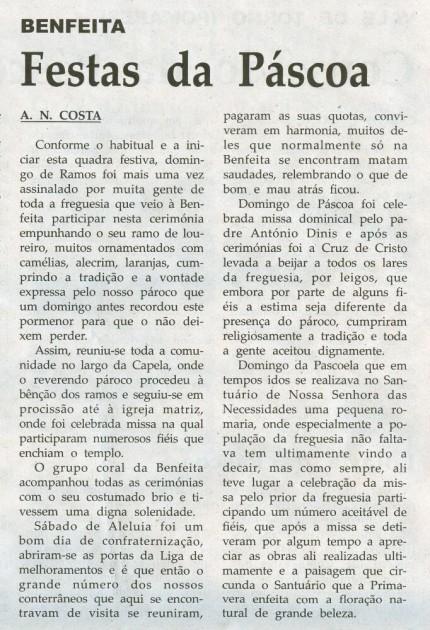 Notícia publicada na Comarca de Arganil, em 29 de Abril de 2009