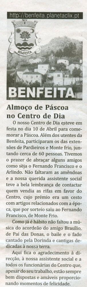 Notícia publicada no Jornal de Arganil, em 30 de Abril de 2009
