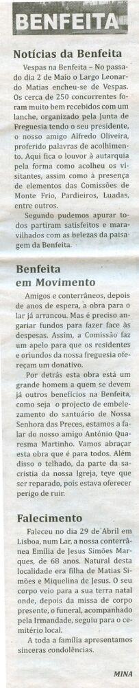 Notícia publicada no Jornal de Arganil, em 14 de Maio de 2009