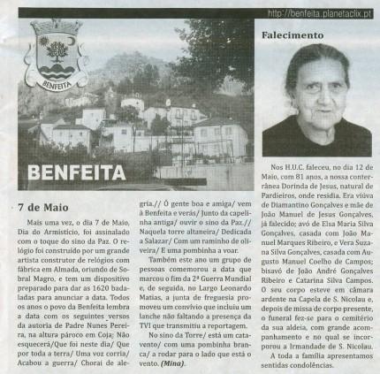 Notícia publicada no Jornal de Arganil, em 28 de Maio de 2009