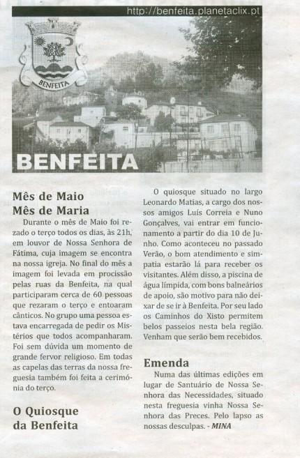 Notícia publicada no Jornal de Arganil, em 4 de Junho de 2009