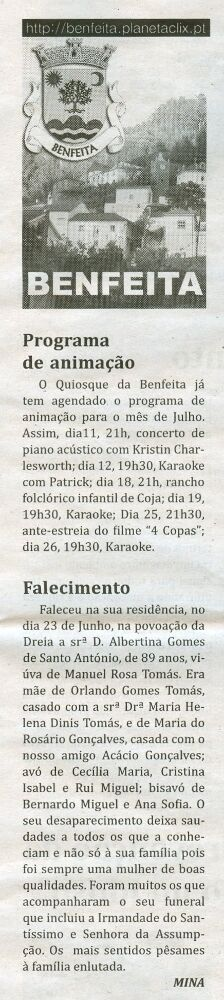 Notícia publicada no Jornal de Arganil, em 9 de Julho de 2009