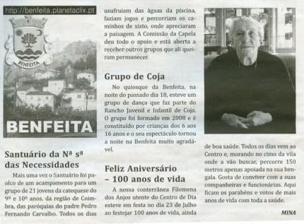 Notícia publicada no Jornal de Arganil, em 30 de Julho de 2009