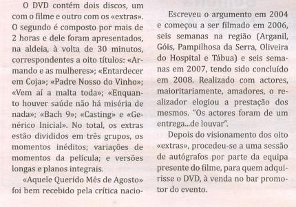 Notícia publicada no Jornal de Arganil, em 3 de Setembro de 2009 (continuação)