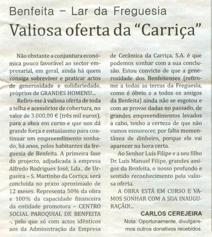 Notícia publicada no Jornal de Arganil, em 15 de Outubro de 2009