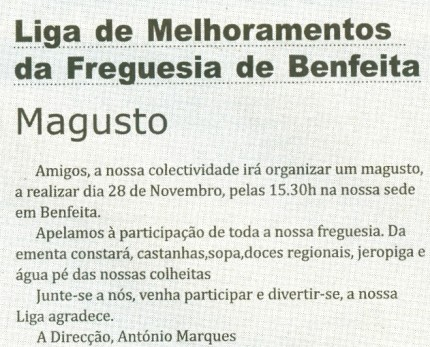 Notícia publicada no Jornal de Arganil, em 12 de Novembro de 2009