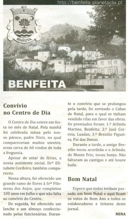 Notícia publicada no Jornal de Arganil, em 7 de Janeiro de 2010