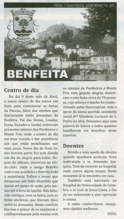 Notícia publicada no Jornal de Arganil, em 22 de Abril de 2010