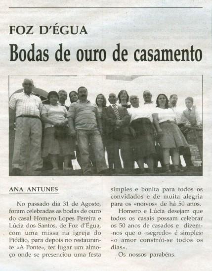 Notícia publicada na Comarca de Arganil, em 17 de Setembro de 2008