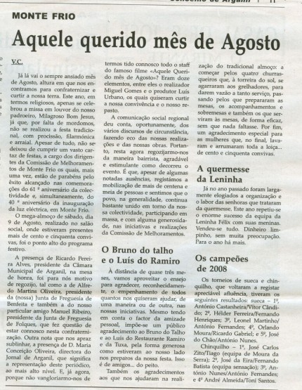 Notícia publicada na Comarca de Arganil, em 29 de Outubro de 2008