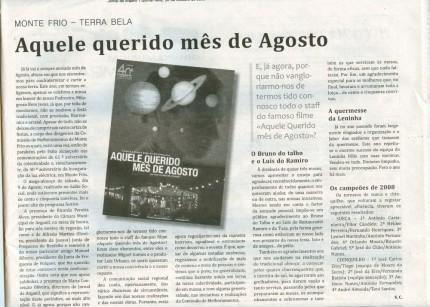 Notícia publicada no Jornal de Arganil, em 30 de Outubro de 2008