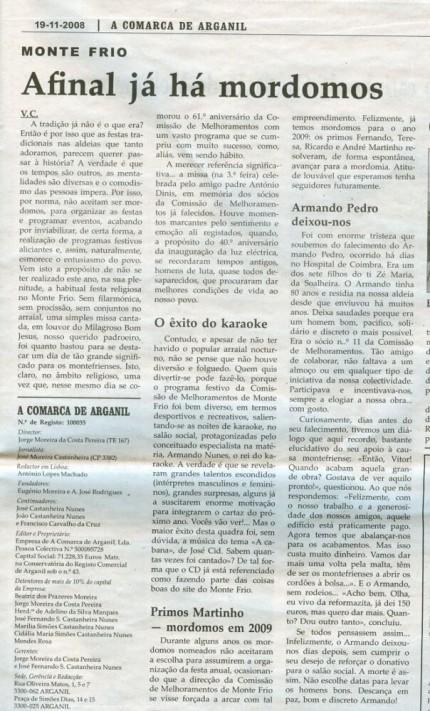 Notícia publicada na Comarca de Arganil, em 19 de Novembro de 2008