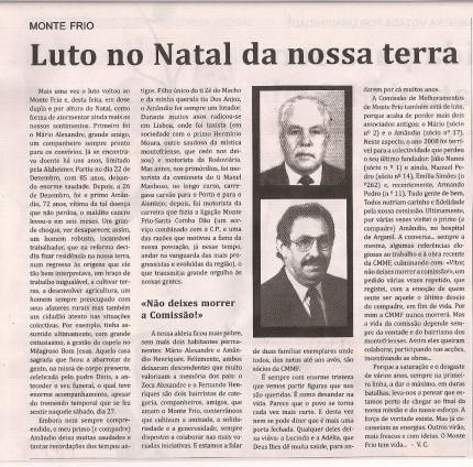 Notícia publicada no Jornal de Arganil, em 15 de Janeiro de 2009