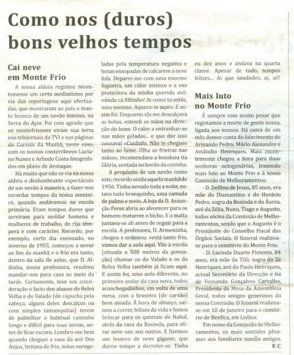 Notícia publicada no Jornal de Arganil, em 19 de Fevereiro de 2009