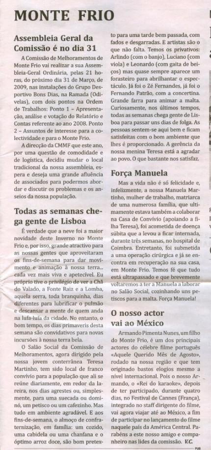 Notícia publicada no Jornal de Arganil, em 19 de Março de 2009