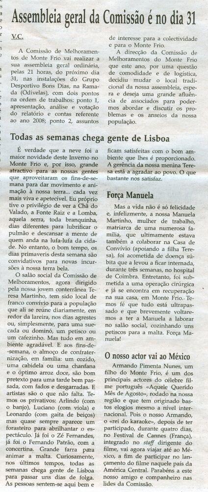 Notícia publicada na Comarca de Arganil, em 25 de Março de 2009