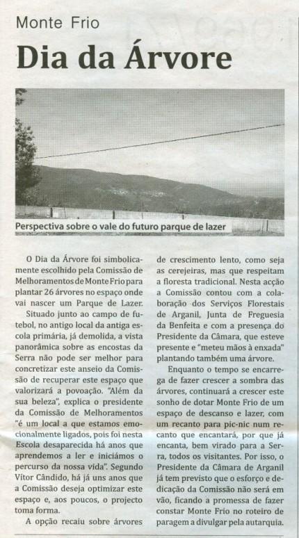 Notícia publicada no Jornal de Arganil, em 2 de Abril de 2009
