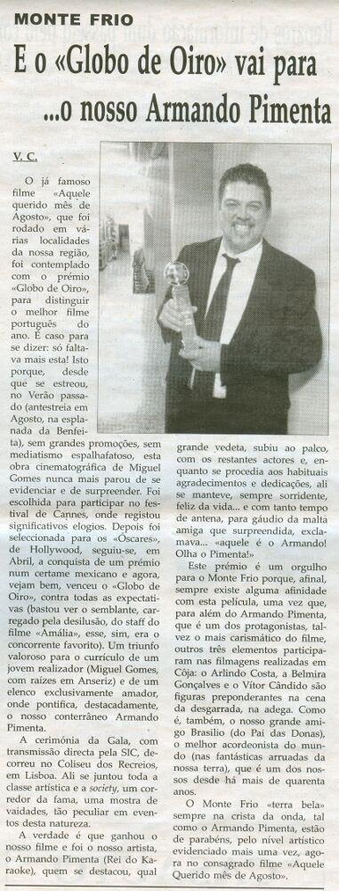 Notícia publicada na Comarca de Arganil, em 3 de Junho de 2009