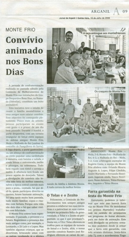 Notícia publicada no Jornal de Arganil, em 16 de Julho de 2009