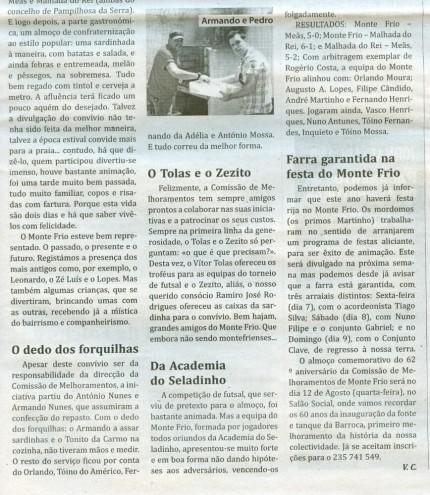 Notícia publicada no Jornal de Arganil, em 16 de Julho de 2009 (continuação)