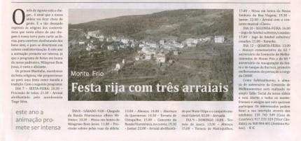 Notícia publicada no Jornal de Arganil, em 23 de Julho de 2009