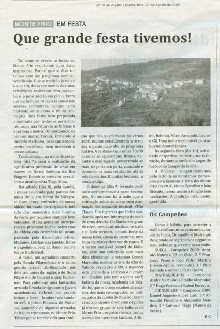 Notícia publicada no Jornal de Arganil, em 20 de Agosto de 2009
