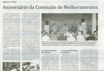 Notícia publicada no Jornal de Arganil, em 10 de Setembro de 2009