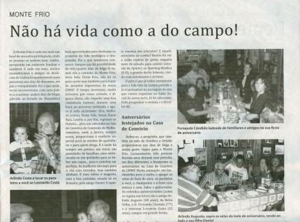 Notícia publicada no Jornal de Arganil, em 10 de Dezembro de 2009