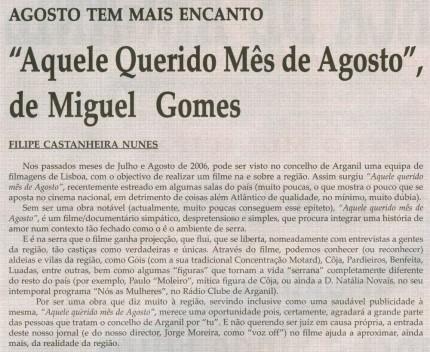 Notícia publicada na Comarca de Arganil, em 10 de Setembro de 2008