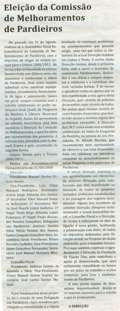 Notícia publicada no Jornal de Arganil, em 2 de Outubro de 2008