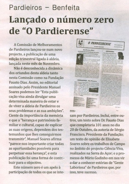 Notícia publicada no Jornal de Arganil, em 6 de Novembro de 2008