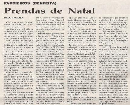 Notícia publicada na Comarca de Arganil, em 14 de Janeiro de 2009