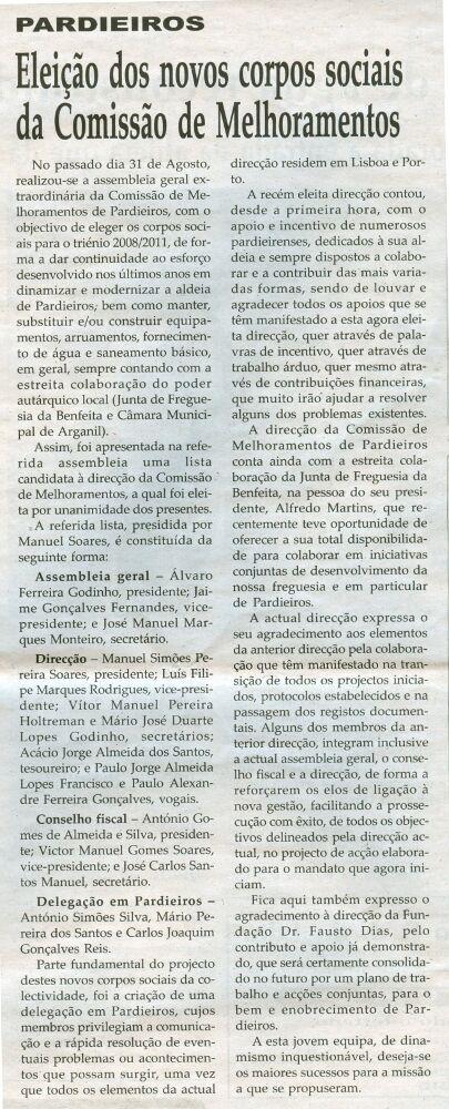 Notícia publicada na Comarca de Arganil, em 4 de Março de 2009
