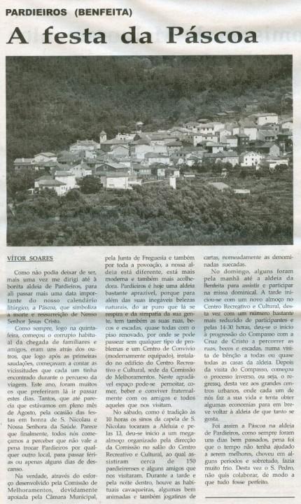 Notícia publicada na Comarca de Arganil, em 22 de Abril de 2009