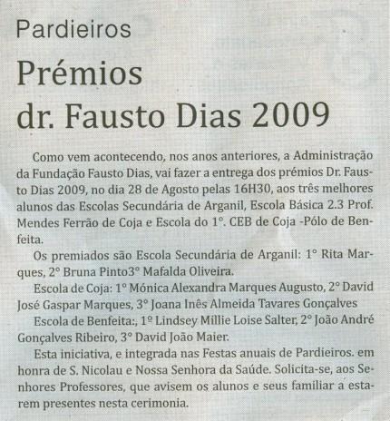 Notícia publicada no Jornal de Arganil, em 5 de Agosto de 2009