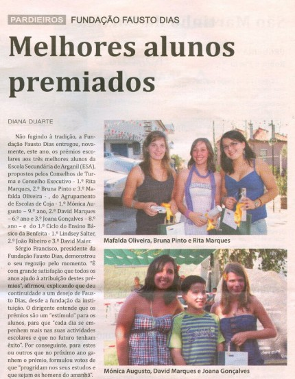 Notícia publicada no Jornal de Arganil, em 3 de Setembro de 2009