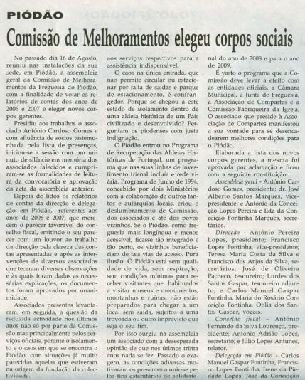 Notícia publicada na Comarca de Arganil, em 1 de Outubro de 2008