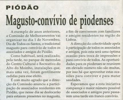 Notícia publicada na Comarca de Arganil, em 22 de Outubro de 2008