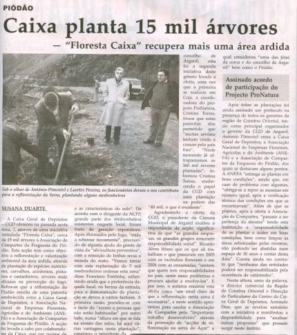 Notícia publicada na Comarca de Arganil, em 12 de Novembro de 2008